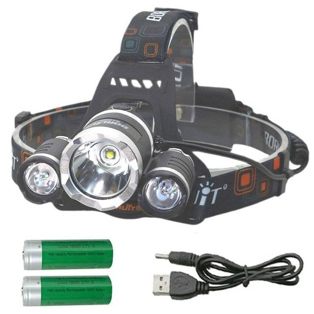 LED Headlamp 18650 CREE T6 6000lm waterproof Headlight Rechargeable Head Lamp 4-mode torch head light +2x 18650 battery+ charger