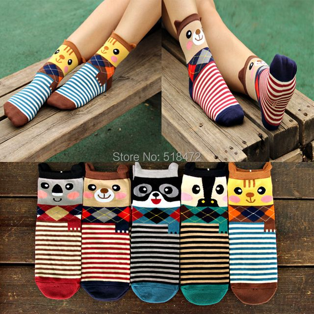 New arrival Cute animals cat panda cartoon Socks good quality Colorful striped Socks summer style women casual socks