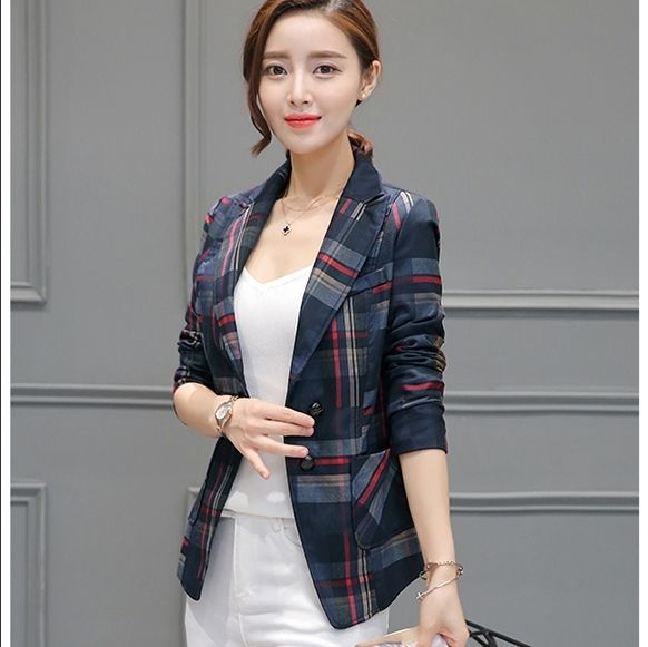 Autumn 2017 Women Blazer Elegant Plaid Blazer Check Suit Jacket Cardigan Slim Waist Long Sleeve Casual Plus Size S-3XL C6801