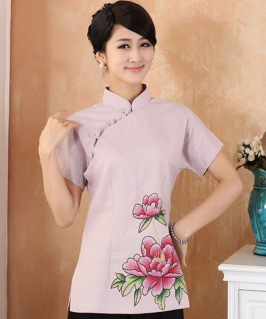 New Pink Lady Cotton Linen Shirt Chinese Vintage Print Short Sleeve Blouse Women's Summer Flower Tops Plus Size 3XL 4XL 2377