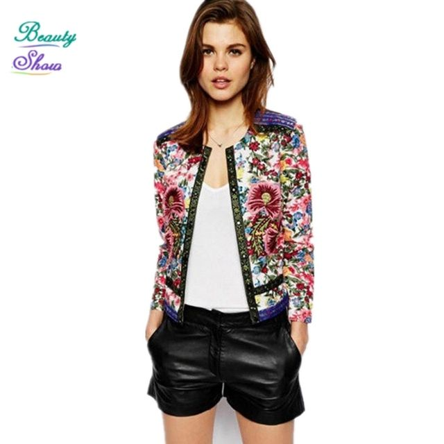 2017 New Vintage Style Floral Printed Autumn Cotton Short Jackets for Women Embroidery Female Coat Outerwear casaco feminino