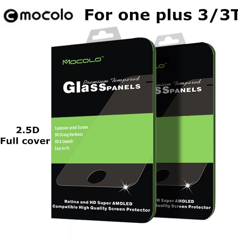 For One plus oneplus 3 three / 3T / T 9H Tempered Glass mocolo Brand 2.5D Arc Curved Protect Full Cover Film Screen Protector