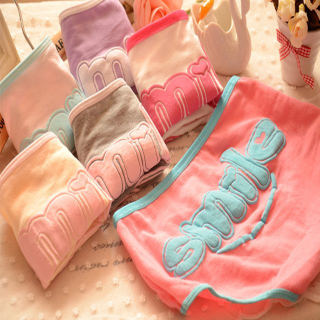 2015 Top Hot Underwear Women brand  Young Girl  Sexy 100% Cotton candy color  Panties Cute Letter Women Briefs 6NK013