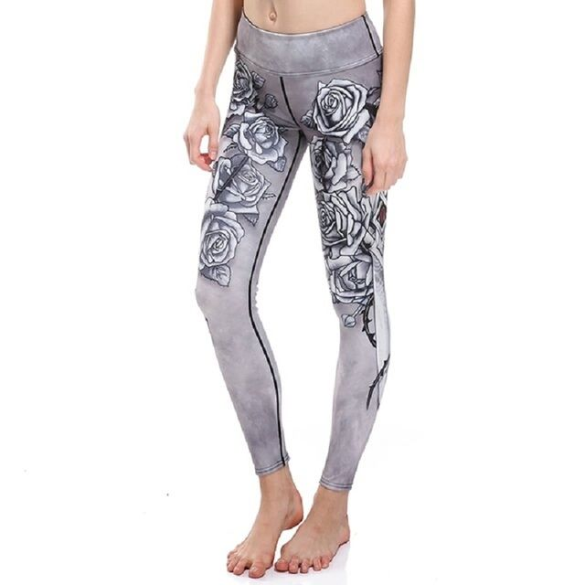 2017 New workout wear Women's print Leggings Fashion High Waist Elastic slim Workout pants Ballet Yuga Leggings free shipping