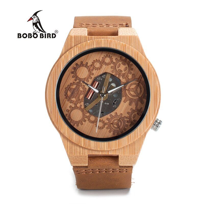 BOBO BIRD LB09 Wooden Watches for Men Gearwheel Dial Japan Movement Quartz Luxury Male Bamboo Watches OEM