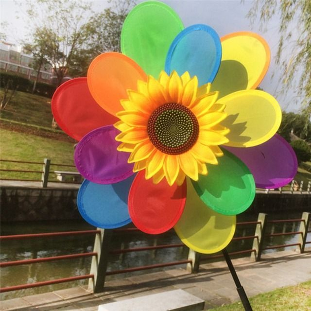 Sunflower Windmill Wind Spinner Rainbow Whirligig Wheel Home Yard Decoration