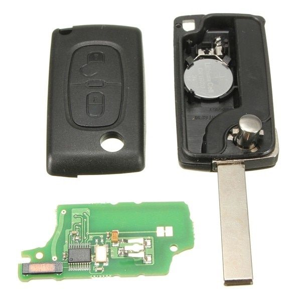 2 Buttons Remote Key 433MHz + Transponder Chip ID46 For PEUGEOT 207 307 308 0536 models 2005 to April 2011
