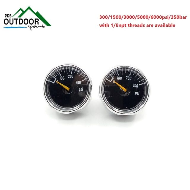 PCP Paintball Pressure Gauge 2pcs 300/1500/3000/5000/6000psi/350bar Mini Micro Manometre Manometer 1/8npt