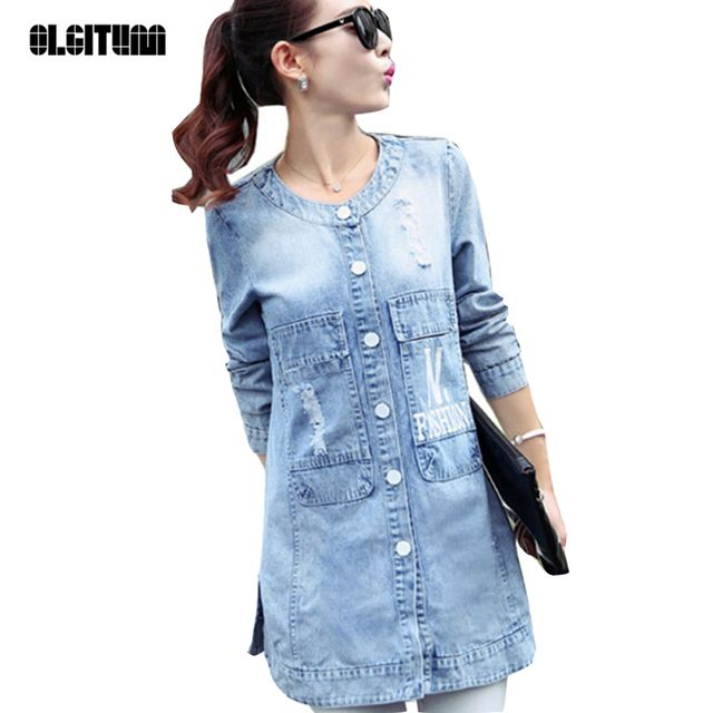 2016 New Style Fall&winter Women Coats O-Neck Long Sleeve Letter Ripped Denim Long Trench Coat Frayed Plus Size 4XL Women Coat