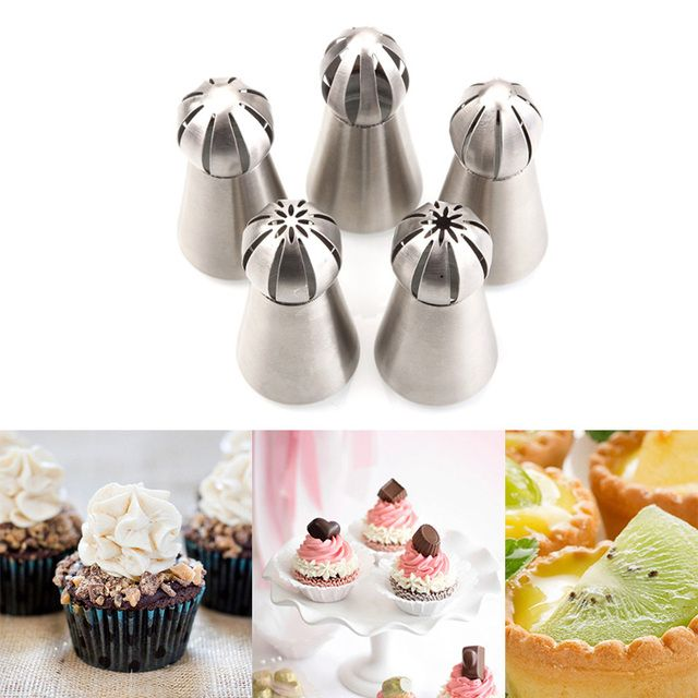 1Pc Kitchen Russian Tulip Nozzle For Cake Cupcake Decorating Icing Piping Nozzles Russian Rose Nozzles Tips #85081