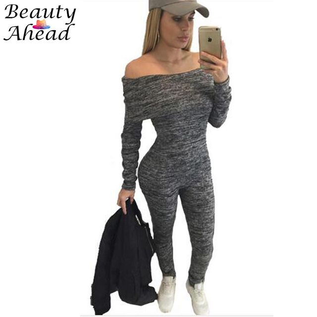Jumpsuits For Women Sexy 2016 Summer New Arrival High Street Style bodycon Slash-Neck Off The Shoulder Jumpsuit Romper plus size