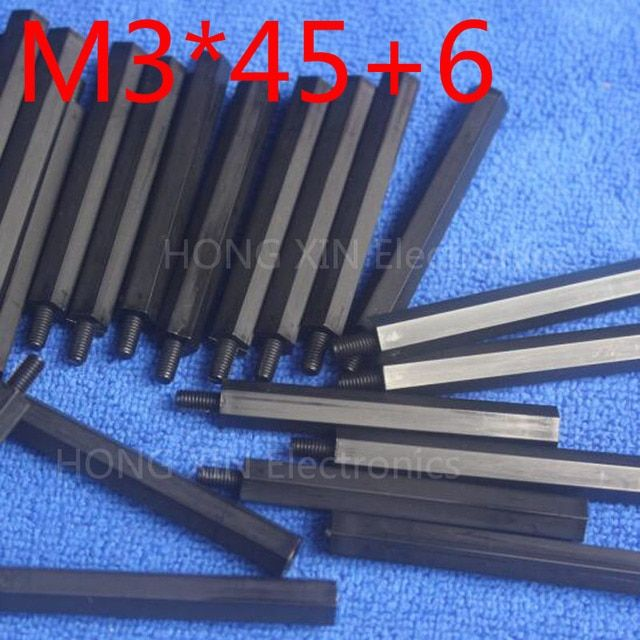 M3*45+6 1 pcs Black Nylon Standoff Spacer Standard M3 Male-Female 45mm Standoff Kit Repair Set High Quality