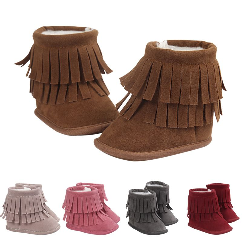 new style Newborn Baby Girl Boy Kids Prewalker Solid Fringe Shoes Infant Toddler Soft Soled Anti-slip Boots Booties 0-18 months