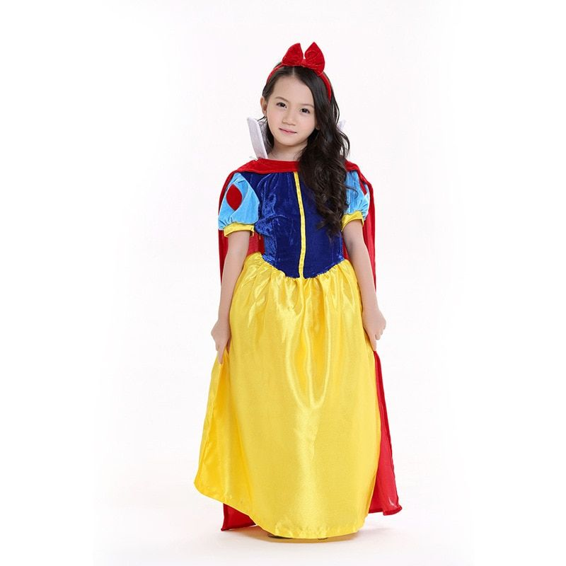 Kids Girls Snow White Fancy Dress Child Fairy Princess Costumes Christmas Halloween Princess Dress Up Snow White Cosplay Costume