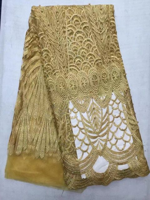 Gold Lace Motif New Arrival Beautiful French Tulle Lace Fabric Beaded African Lace Fabric Fashionable Net Lace For Women Dress