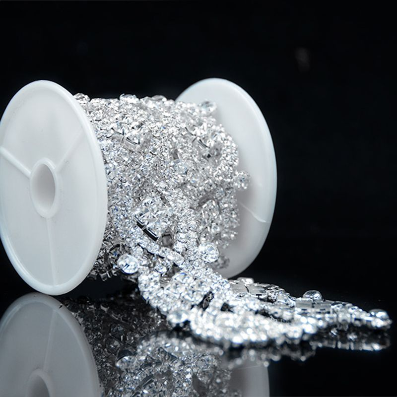1 Yard Clear Glass Rhinestone Silver Applique Chain Bridal Dress Costume Trim R2200Y