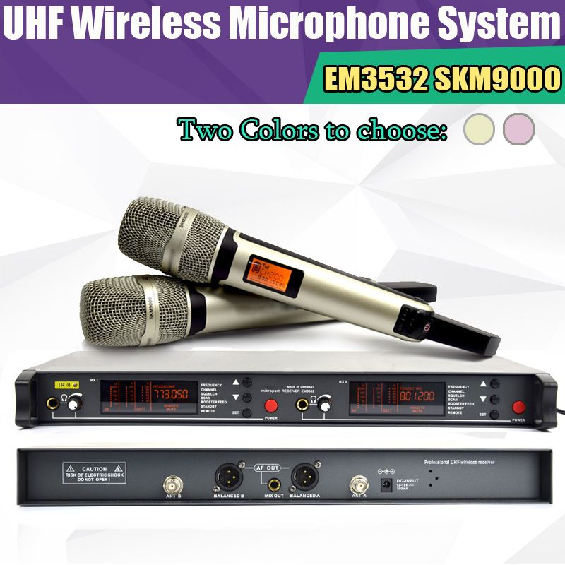 Top quality True diversity System 2 antenna for Stage EM3532 SKM 9000 SKM9000 Golden  Wireless Microphone System 2 performances