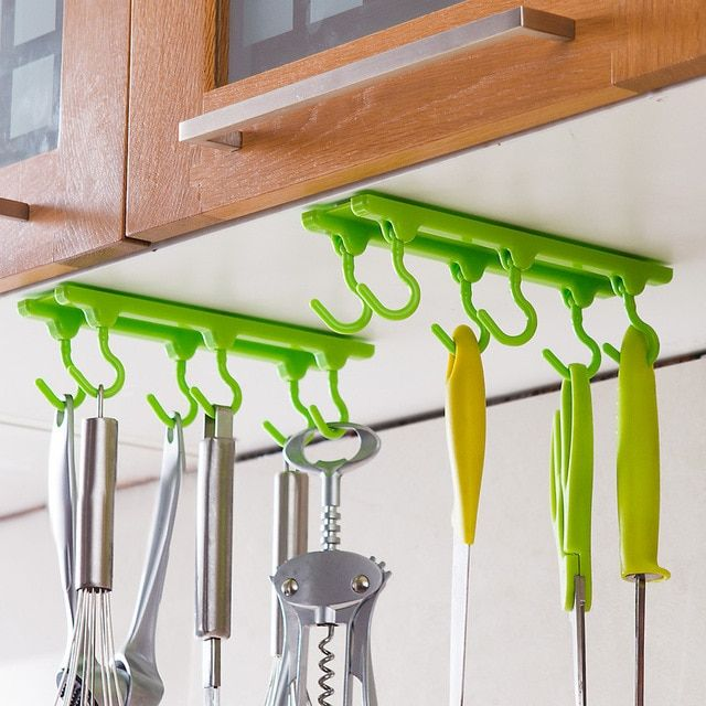 4 Color Kitchen Cabinet Wall Cabinet Hook Kitchen Storage Strong Sticky Hooks Up Wall Rails Free shipping U0543