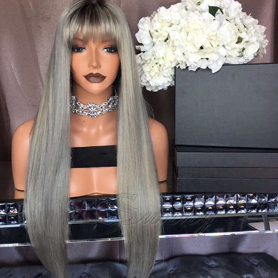 8A Brazilian Ombre Color Human hair Lace Front Wigs 180% Density Long Hair Two Tone #1B/Gray Human Hair Full Lace Wig With Bangs