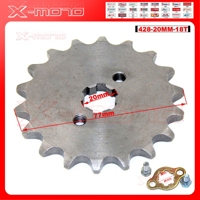 428 18T Tooth 20mm ID Front Engine Sprocket for Stomp YCF Upower Dirt Pit Bike ATV Quad Go Kart Moped Buggy Scooter Motorcycle