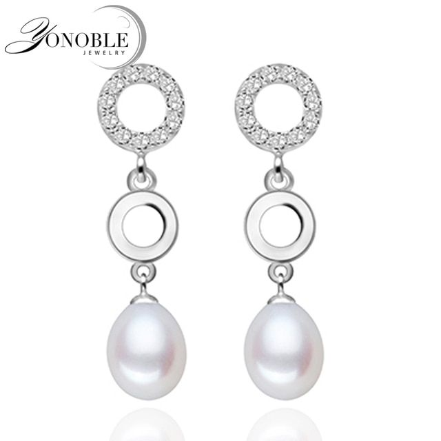 Real pearl earings for women white pearl earrings 925 silver earring with pearl jewelry girlfriend birthday party gift top grade