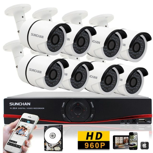 SUNCHAN 8Channels DVR NVR AHD DVR System IR-CUT 1.3MP 960P Cameras H.264 DVR Outdoor Night Vision Security Camera System 1TB
