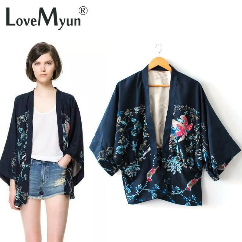 2019 New Vintage Retro Women Ethnic Phoenix print oversized Style navy blue Kimono Cardigan Jacket Coat free shipping