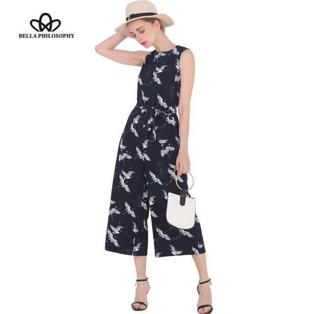 Bella Philosophy 2017 spring summer new women's bird print O-neck sleeveless belt sashes ankle-length jumpsuits blue