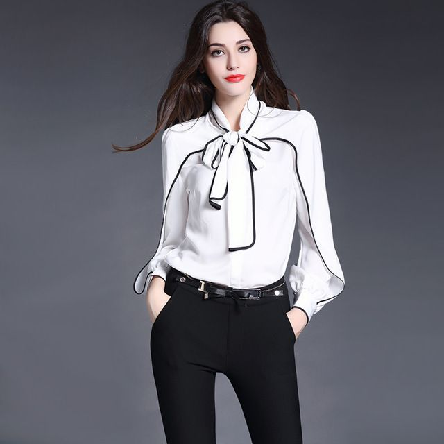 High Quality Women Fashion Silk White Black Trimmed Bow Knot Blouse Shirt Office Chiffon Blusas Top Clothes Chemise Femme S78