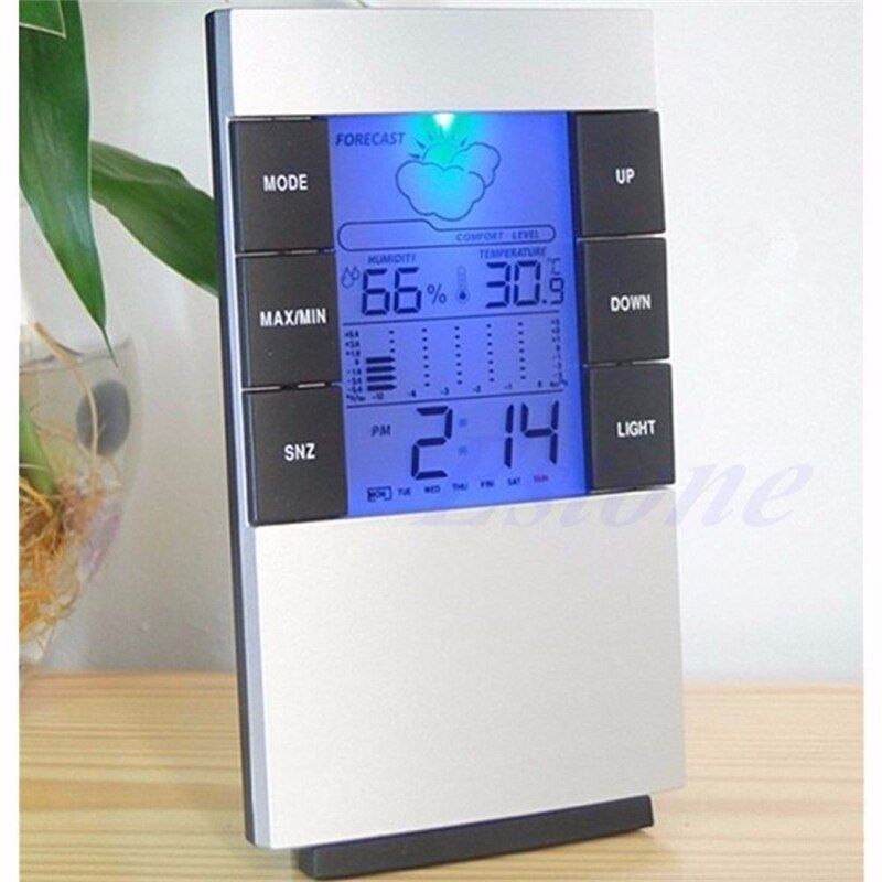 Indoor Hygrometer Weather Forecast Clocks Max/Min Temp Humidity Record Chime Color Changing Desktop Digital Table Clocks Watch