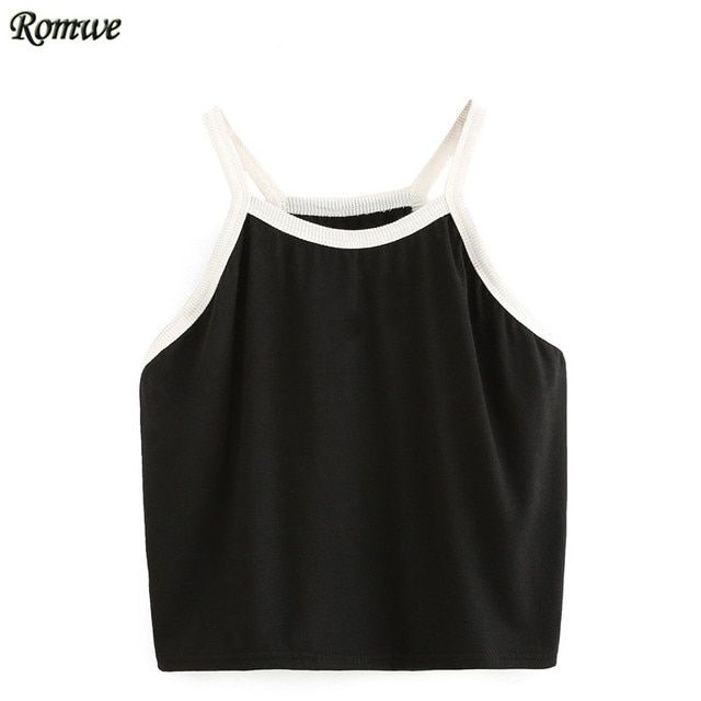 ROMWE Ladies Casual Sleeveless Top Women Sexy Crop Top Tank Tops Black Spaghetti Strap Contrast Trim Crop Cami Top