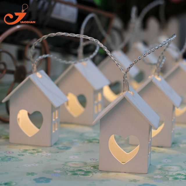 Wooden house lights Wood Loving heart Decoration 10LED String Light Party Fairy lighting Bedroom Decorative Battery Operated