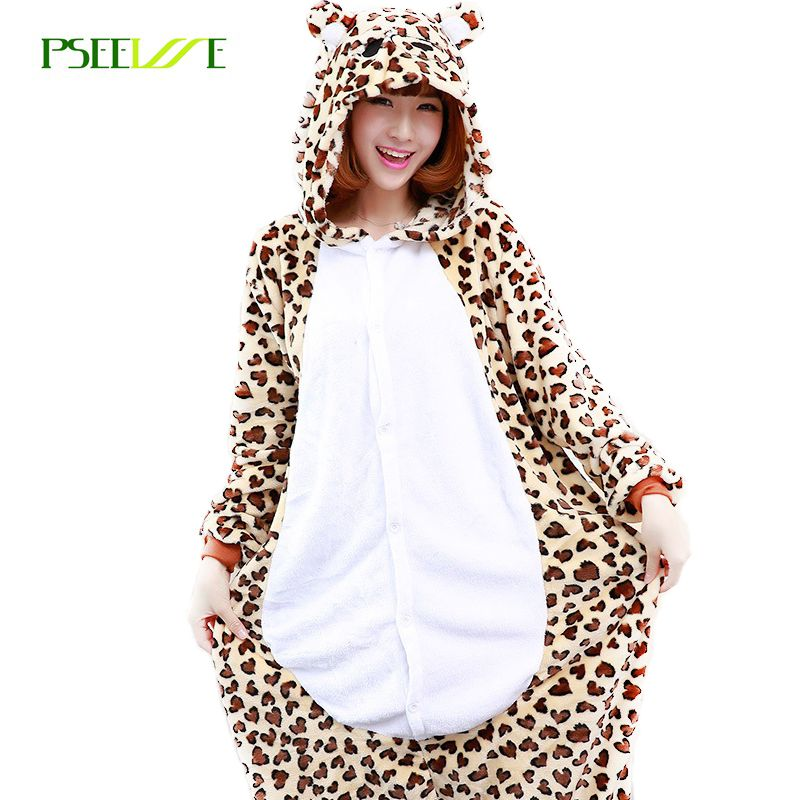 Animal Adult leopard onesie Flannel Cosplay Costume Pajamas Jumpsuit leopard  pajamas animal costume Warm Cartoon Sleepwear