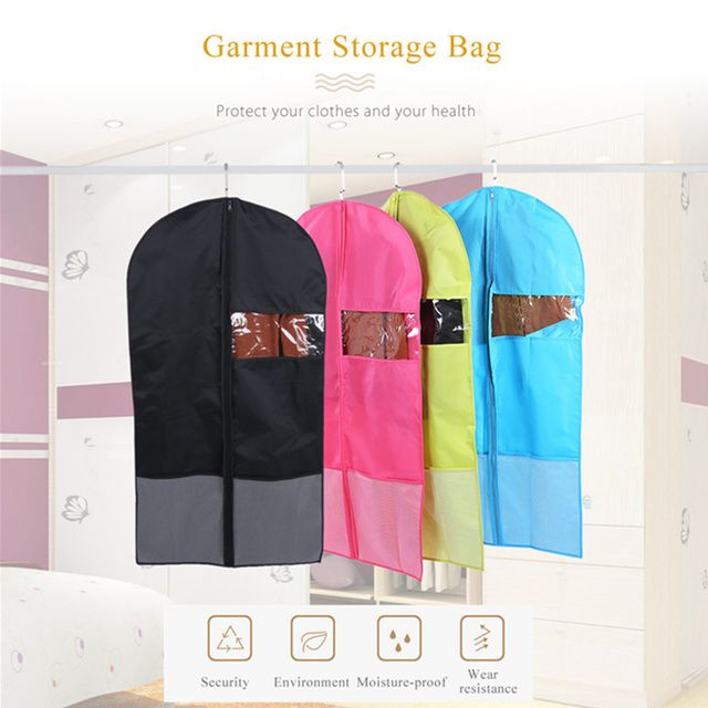 Oxford Foldable Hanging Garment Cover Case Dust-proof Storage Bag Washable Protector with Transparent Window for Dry Cleaners