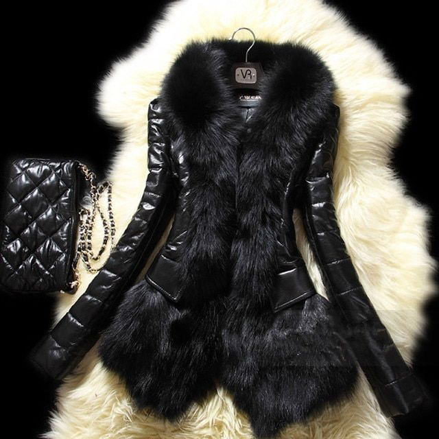 PU Plus Size Women Black Rabbit Fake Fur Coat Jacket Raccoon Fur Collar Winter Trench Outerwear Casacos Femininos Abrigo Mujer