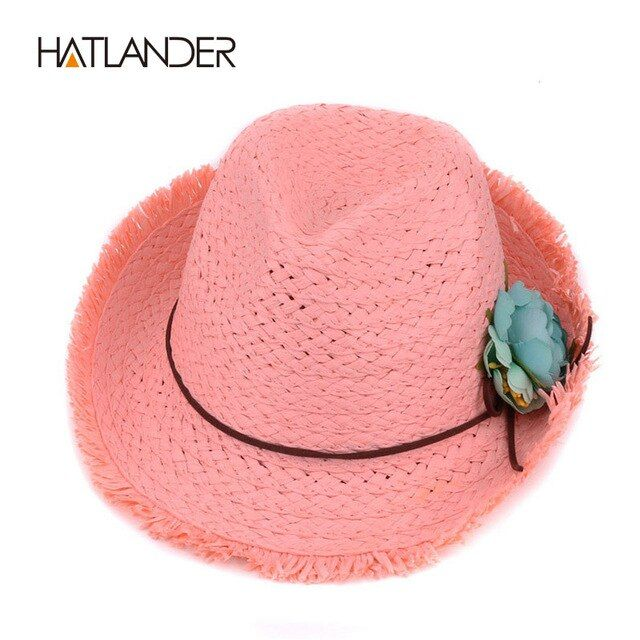 Hatlander 2017 children sun hat for kids jazz caps pink fedora trilby girls flower casual solid summer beach sun paper straw hat
