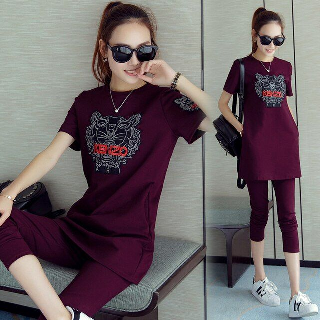 2016 Summer Korean Leisure Women Tracksuits Suits Short Sleeved Pants Seven Slim Cotton Pullovers Casual 2 Pieces Clothes