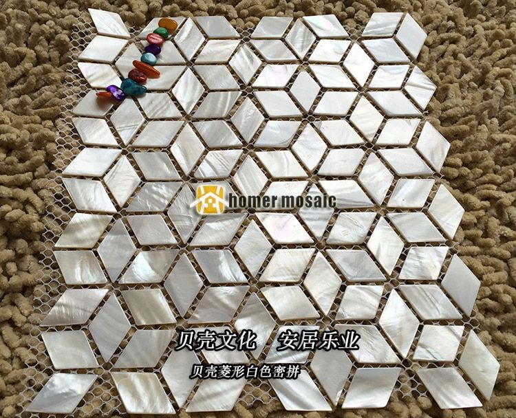 diamond scale pure white shell mosaic tiles MOP mother of pearl wall kitchen backsplash background wall mosaic tiles fashion