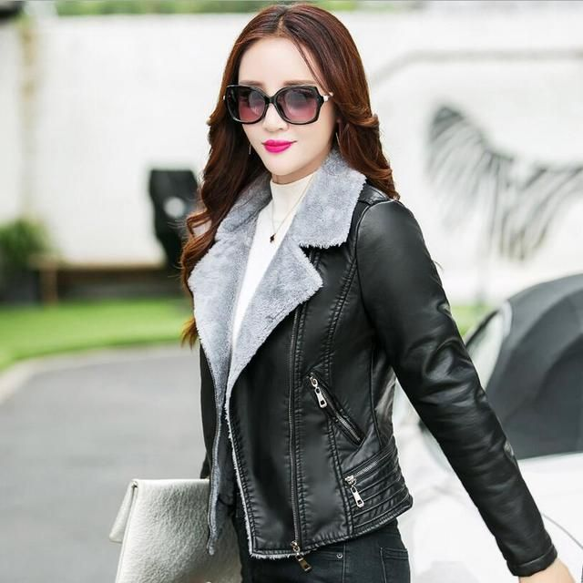 Free shippng large size Winter women's PU wadded plus velvet coat solid color slim leather clothing zipper small jacket / M-3XL