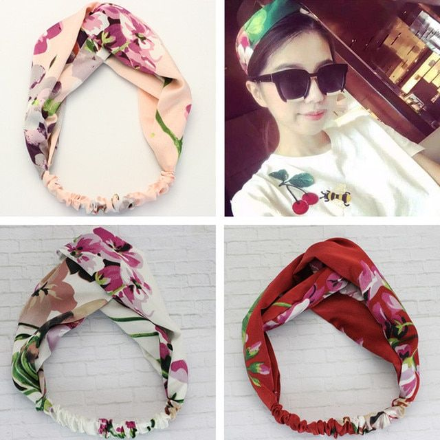 Wholesale 100PCS/LOT Newly Design Geranium printing Flower Headbands Women Plaid Hair Bands Causual Female Hair Accessories