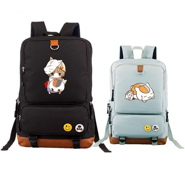 Anime Natsume's Book of Friends Kawaii Cat Teacher Cosplay Printing Backpack Canvas Backpacks for Teenage Girls Laptop Bags