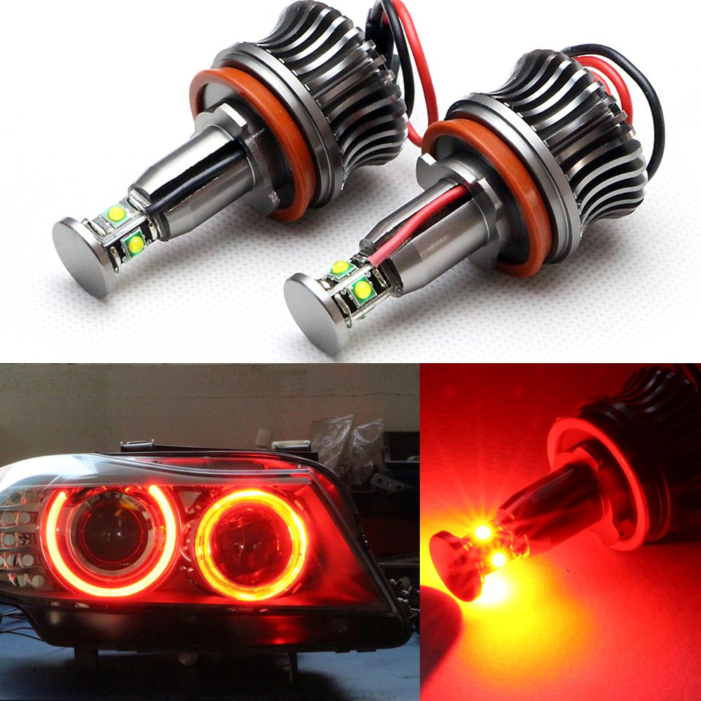 20W H8 White HID Xenon 7000k Angel Eyes LED Light For BMW E90 E92 E93 X5 Led marker halo bulbs Dropping Shipping
