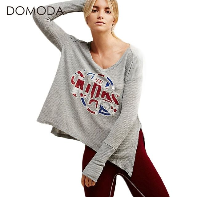 DOMODA Solid Gray Women T-shirt Knitted Casual Letter Printed Loose Female Tops Side Split Street Style Pullover Tees