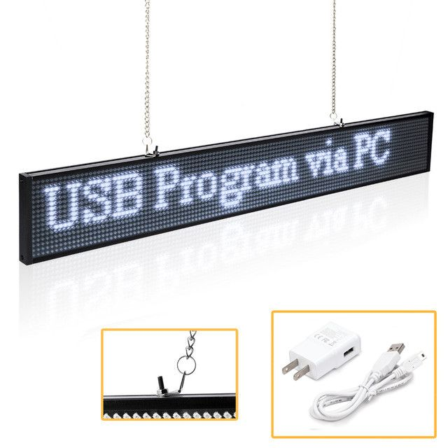 P5 SMD Led Sign Panel Module 19.6 x 4 -Inch Scrolling Message LED Display Board with Metal Chain for Business Open Home Salon