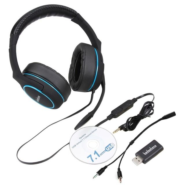 badasheng 7.1 Surround Sound channel USB Gaming Headset Wired Headphone with Mic Earphone Volume Control Noise Cancelling 5-in-1