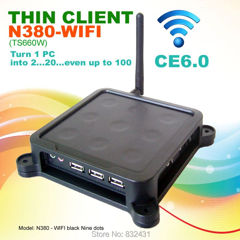 Thin Client 32 Bit N380W(TS660W) Black Nine Dots MINI PC CE6.0 Embedded System PC Station with USB Port Wifi Printer Supported