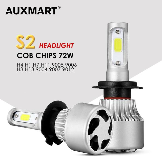 AUXMART 3 Chips 9007 9004 H13 H4 LED Bulb Car Headlight 72W 6500K COB 2 Chips for 9012 9005 9006 H1 Led H7 Bulb H3 H11 Car Lamps