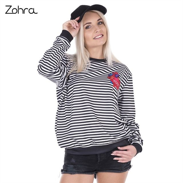 Zohra High Quality Women Tracksuit Black White Stripes Heart Printed Causal Hoodies Sudaderas Mujer Pullovers Hoodie Sweatshirt