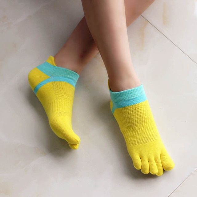 Womens Toe Socks Casual Thin 100% Cotton Women Toe Sock Meias Breathable Ankle Five Finger Pilates Toe Socks Meias