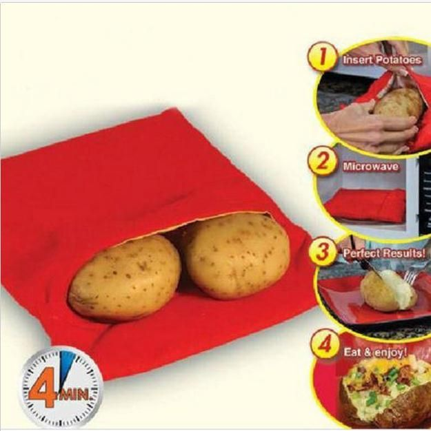 Red Washable Cooker Bag Baked Potato Microwave Cooking Potato Quick Fast (cooks 4 potatoes at once) Hot 2016